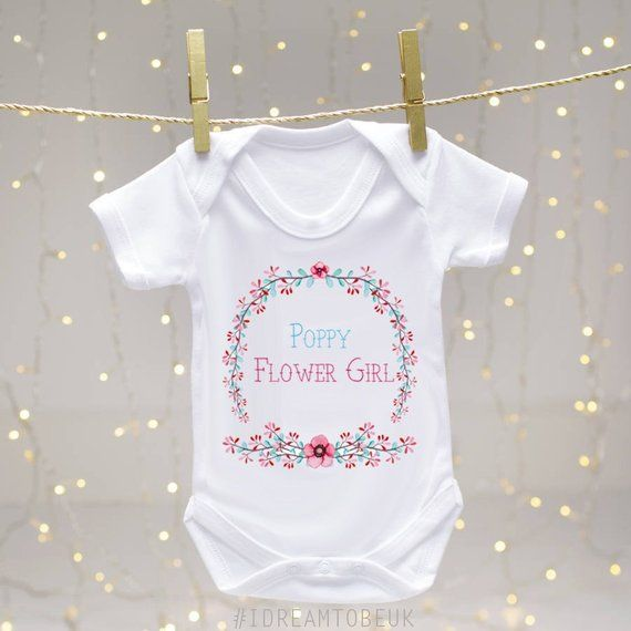Wedding Bridesmaid Embroidered Baby Romper Babygrow Gift Personalised