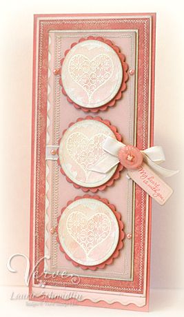 handmade Valentine card .. tall and thin ... column of scallop matted circles with stamped lacy hearts ... machine stictching around panels .,.,. lovely card ...