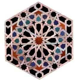 A design featuring the pentagons and hexagons used in the Mosque. which were developed out of the connections between the Fibonacci series,and the Golden Proportion. The influence and interconnections between Muslim art the Golden Proportion, the polygons, the Vedic Hindu Square and the Cabbala number system.