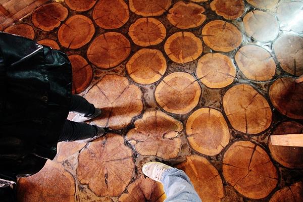 Wood cut floor in Bariloche, Argentina.