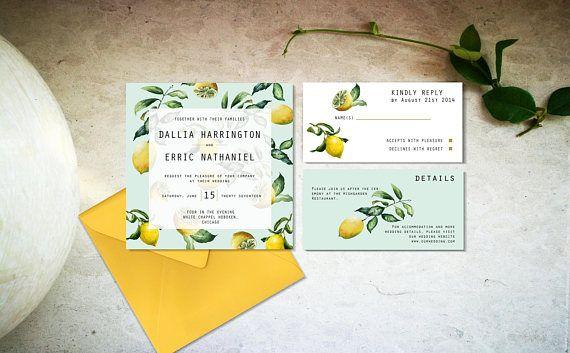 Minimal lemon wedding invitation template Digital rustic and