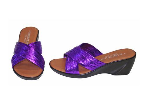 Purple Wedge Sandal - Shiny Strap