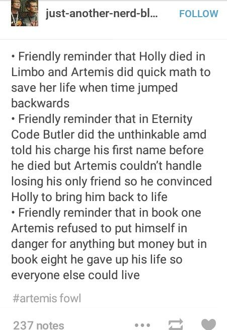 Artemis Fowl <3 but note, this is not a friendly reminder!!
