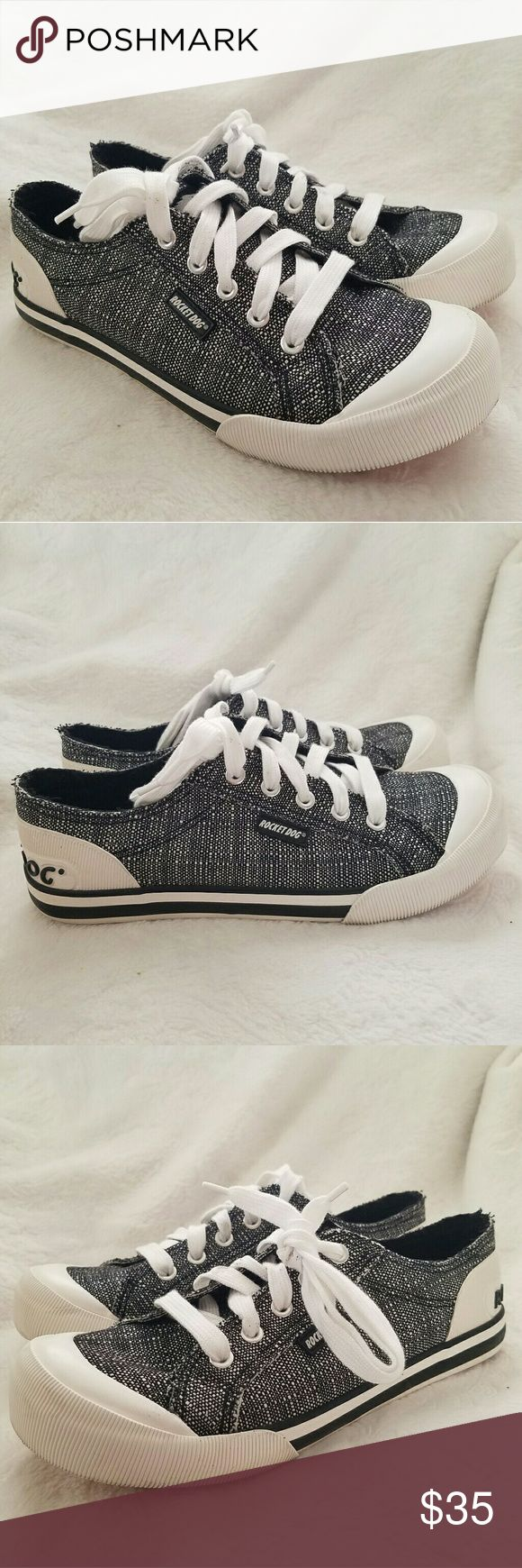 Jazzin Kingsley Sneaker Your staple lace-up must-have sneaker. Features stylish textured canvas print, rubber sole, grommets for breathability, and branded heel.  Vulcanized Lace-Up Casual Sneaker Soft Cotton Lining And Footbed Rubber Sole 2.05 Lb Used but in great condition :) Rocket Dog Shoes Sneakers