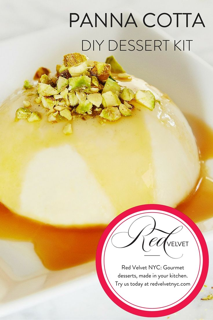 """Did you know that """"panna cotta"""" is Italian for """"cooked cream""""? This creamy, refreshing Panna Cotta includes passion fruit sauce and crushed pistachios- it'll be your passport to dessert heaven. Bravissimo! #dessert #international #shop #baking #italian"""
