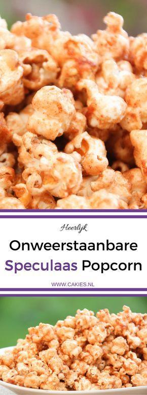 Speculaas Popcorn is een heerlijke snack. Probeer eens iets anders dan zoute popcorn en geef je zoete popcorn een speculaas smaakje.