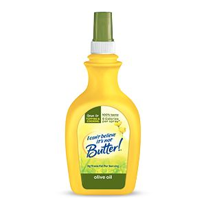 I Can't Believe It's Not Butter!® Olive Oil Spray gives you a taste of the Mediterranean. Use it for topping, cooking and with all of your favorite foods.