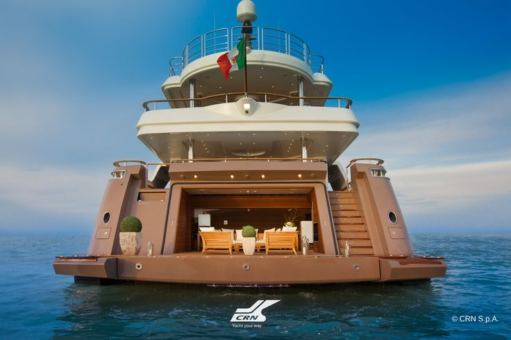 CRN M/Y J'Ade 60m garage, for the first time onboard a CRN megayacht, is floodable and the tender (a 27foot Riva Iseo) can be handled in it without using a crane. The side hatch of the garage is operated hydraulically and the internal basin fills with water to allow the tender to go in and out easily: the border of the tub has a protection to avoid damage and it also has underwater lights to create a dramatic effect. The garage can be emptied very quickly and dries out in three minutes.