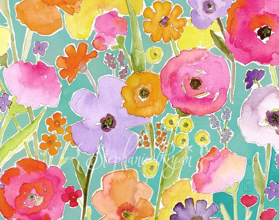 Watercolor floralFloral Painting, Art Prints, Baby Dogs, Gardens Art, Water Colors, Art Painting, Watercolors Flower, Watercolors Painting, Floral Pattern