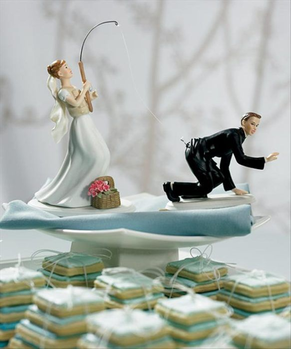 muñecos de pastel, la novia pesca al novio