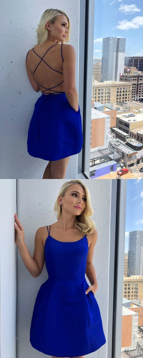 Aline scoop royal blue satin short homecoming dress with pockets in