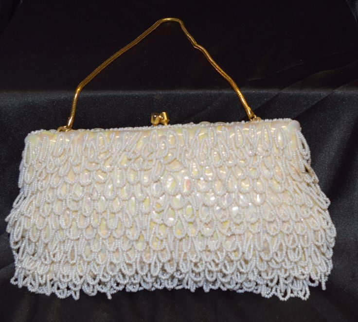 Vintage Clutch Evening Purse Beige Beaded