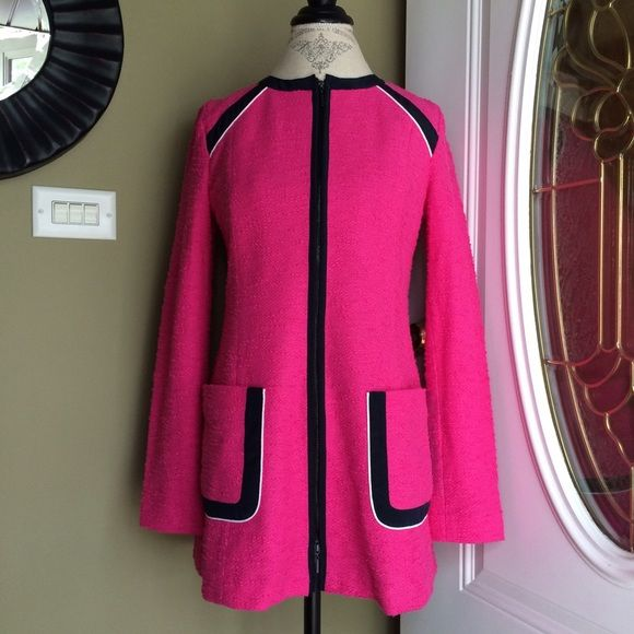 Nanette Lapore pink & navy zip-up blazer/coat Brand new hot pink fancy blazer with navy and white accents. Made of cotton on outside and polyester and spandex on inside. From Niemen Marcus! Nanette Lepore Jackets & Coats Blazers