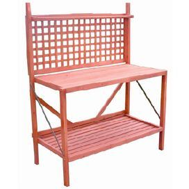 "Kiln-dried wood potting bench with lattice detailing.     Product:  Potting bench    Construction Material: Kiln dried wood  Color: Natural   Features:  Treated with natural stain colors    Can be re-stained to any color Folds flat for easy storage   Perfect gift for the avid gardener  Dimensions: 48"" H x 60"" W x 24"" D"