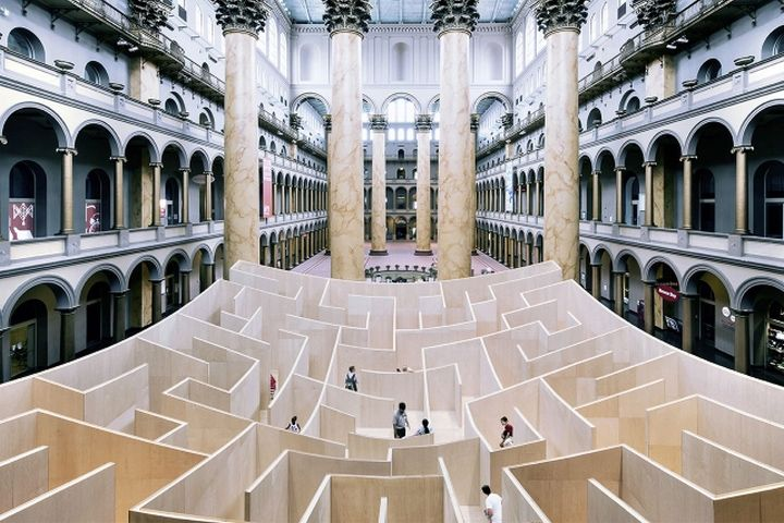 Labyrinth installation at the National Building Museum by Bjarke Ingels Group…