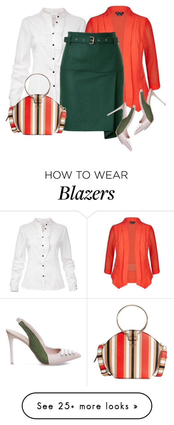 """Wear it in a Green Skirt"" by oxigenio on Polyvore featuring City Chic, GUESS and Puma"