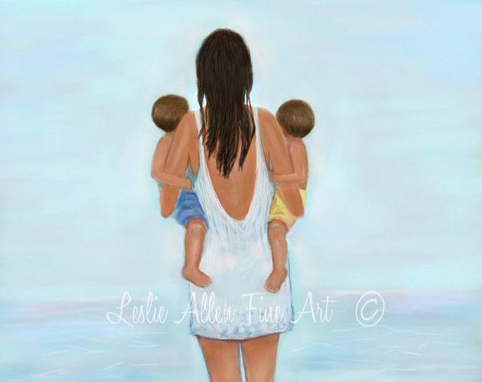 Mother Two Boys Sons Art Print Twins Art Beach Decor Ocean Fun
