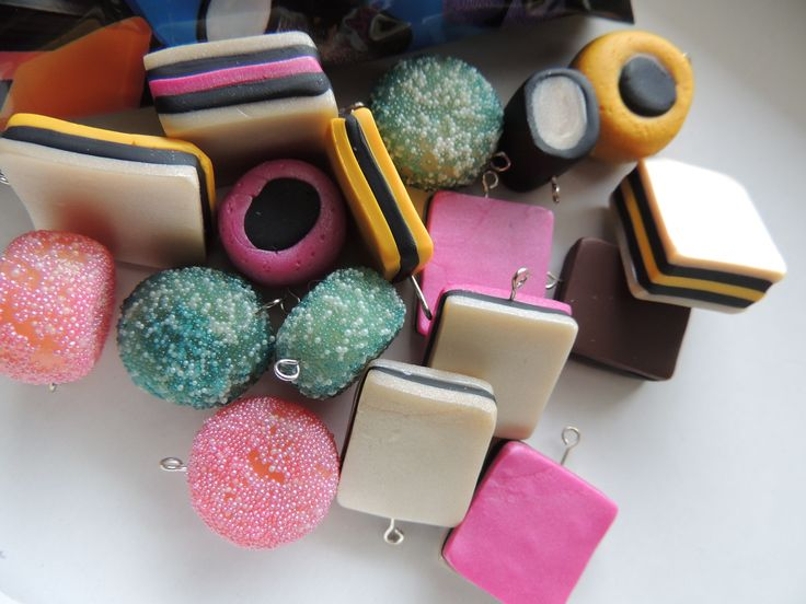 Polymer licorice allsorts charms