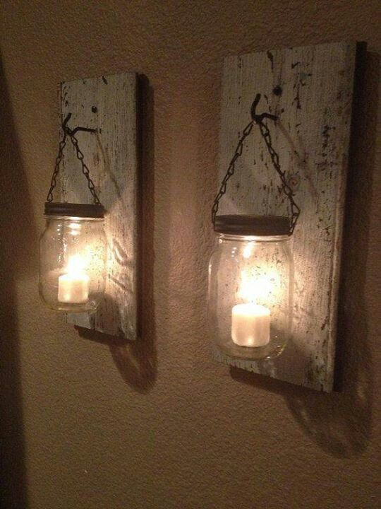 Mason jar tea light wall hangers! These are fantastic!