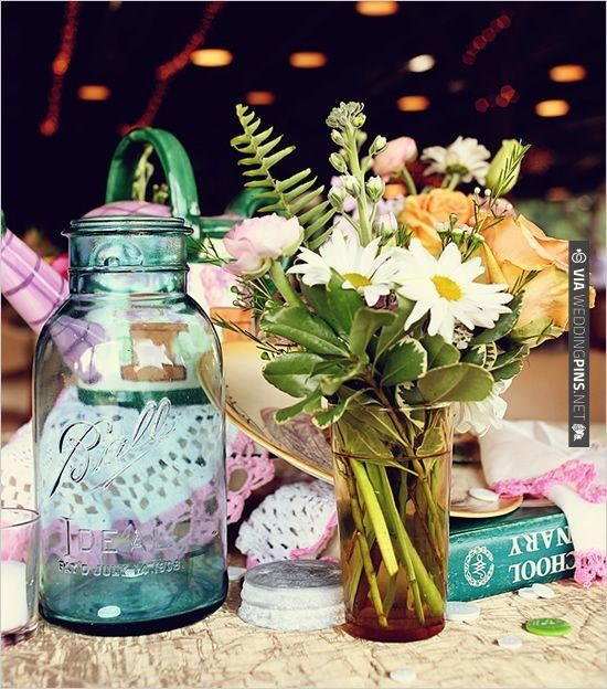 blue mason jar | CHECK OUT MORE IDEAS AT WEDDINGPINS.NET | #weddings #weddingflowers #flowers