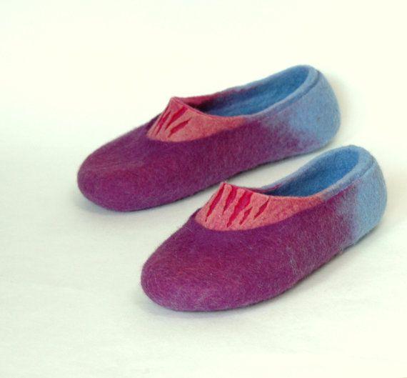 Hand Felted Slippers for Women Purple Rain
