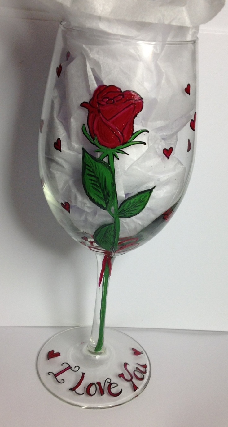 Valentines Day Painted Red Rose Wine Glass by HANDPAINTEDBYCYNDIE