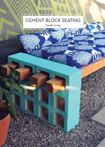 10 MAY DIYS – Cement Block Seating: Outdoor Seating, Ideas, Craft, Diy Outdoor, Cinderblock, Cinder Blocks, Garden, Fire Pit
