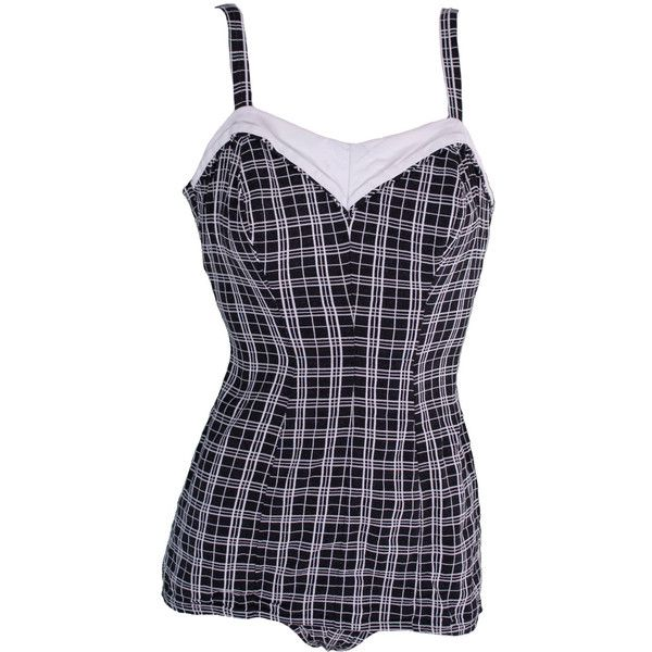 1950s Small Bathing Swimming Suit One Piece Romper Onesie Gingham Mod... ❤ liked on Polyvore featuring swimwear, one-piece swimsuits, vintage bathing suits, retro swimsuit, pin up bathing suits, pin up one piece swimsuit and 1 piece swimsuit