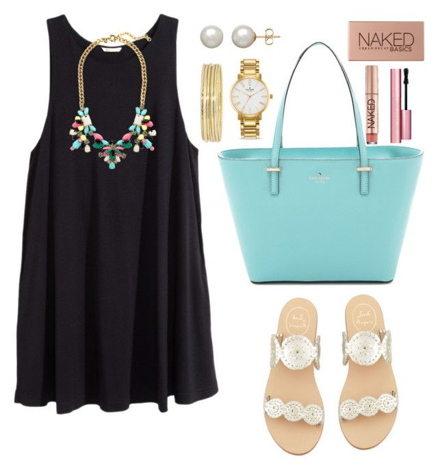 """""""Untitled #72"""" by valerienwashington ❤ liked on Polyvore featuring moda, H&M, J.Crew, Jack Rogers, Kate Spade, Liz Claiborne, Honora, Too Faced Cosmetics, Urban Decay y women's clothing"""