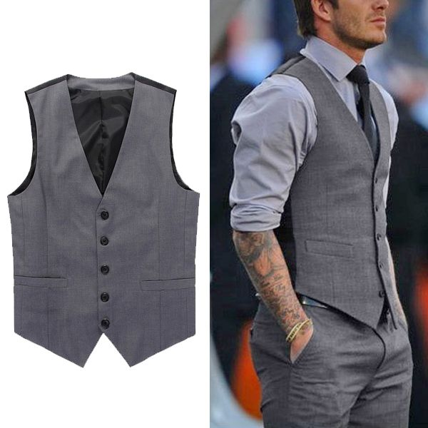 Fashion Men's Formal Business Casual Dress Vest Suit Slim Tuxedo Waistcoat Coat