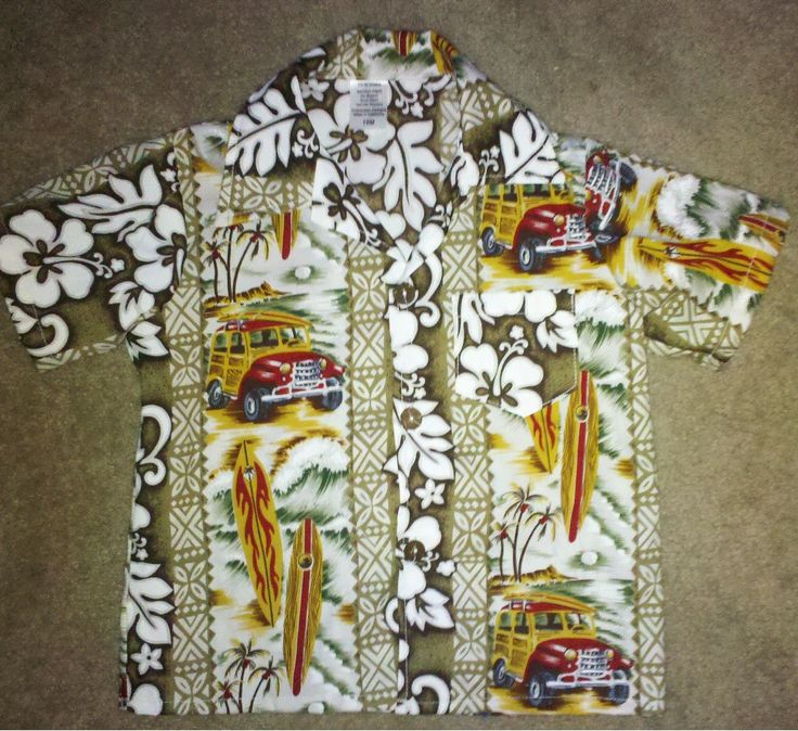 Polynesian Designs -  Boys  Hawaiian Shirt Tan Woody's, $20.00 (http://www.polynesiandesigns.com/boys-hawaiian-shirt-tan-woodys/)