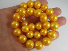 HEBRAS naturales 10-11mm collar de perlas del mar del sur amarillo ORO MACIZO de Fábrica precio Al Por Mayor de Las Mujeres Regalo Joyería de La palabra(China (Mainland))