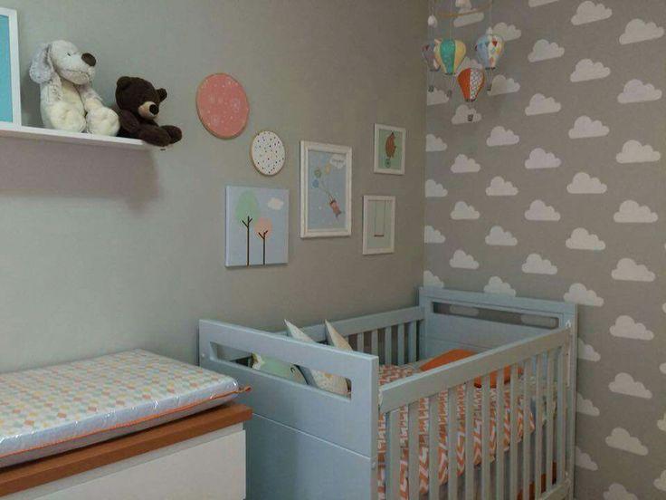 Papel de parede de nuvem e móbile de balão  Quarto do Bebê  Pinterest  Beb
