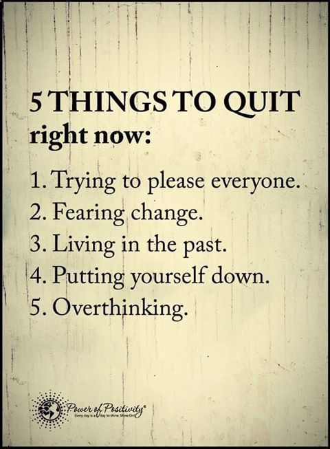 Five things to quit right now