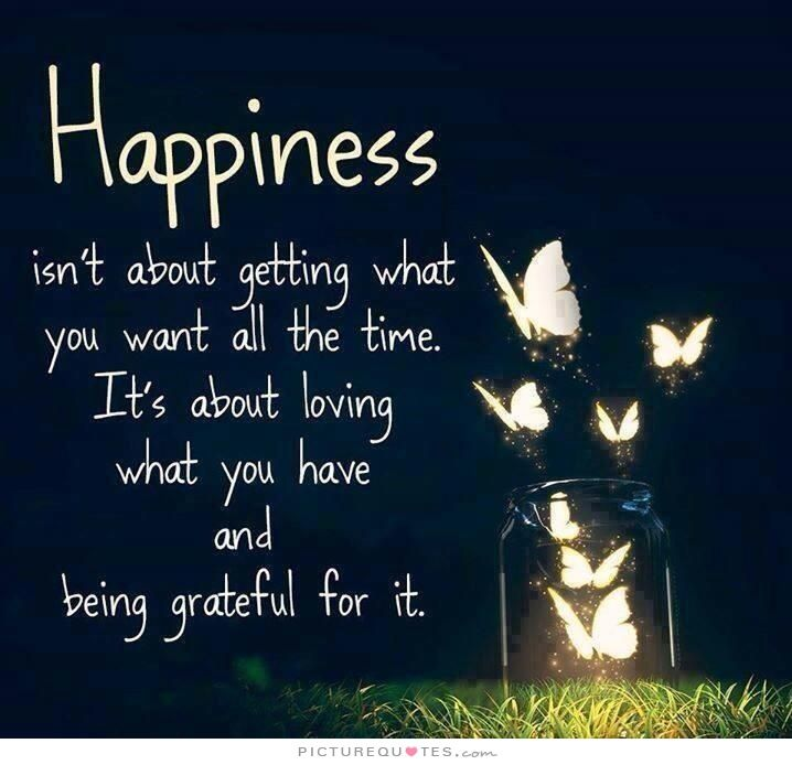 Lovely Happiness Isnu0027t About Getting What You Want All The Time. Itu0027s About Loving  · Be GratefulQuotes ...