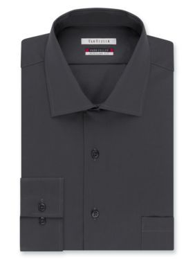 Van Heusen Dress Shirts Charcoal Big  Tall Wrinkle Free Flex Collar Dress Shirt