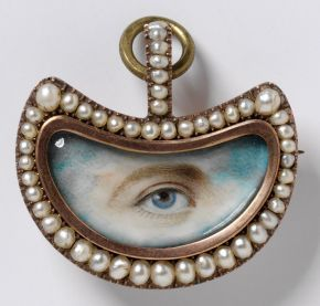 Lover's Eye brooch, England, 1800-20, gold, pearls, diamonds and painted miniature. Museum no. P.56-1977, © Victoria and Albert Museum, Lond...
