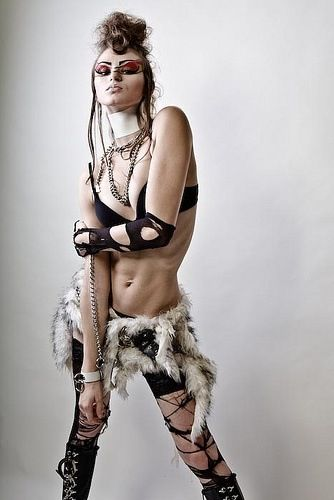 The perfect Burning Man daytime outfit. Stylish bra, lovely panties, some shreds of stockings or sleeves, bits of fur and an attitude.