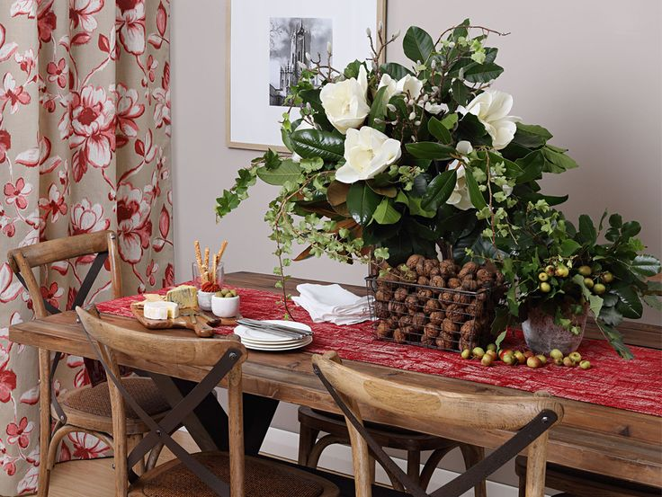 Festive table runner and custom made curtains using the stunning Q Designs fabrics Perla Red & Flouro Red