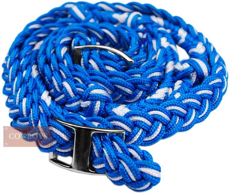Rédea em Nylon para Cavalo Azul e Branca. Rédea feita em nylon trançado para cavalo na cor azul e branca. Produto importado, ideal para amantes de cavalos e estilo Country.