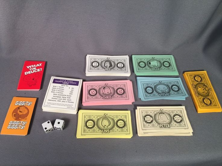 Family Guy Monopoly Game Parts- Deed, What The Deuce & Giggity Cards, Money, Die