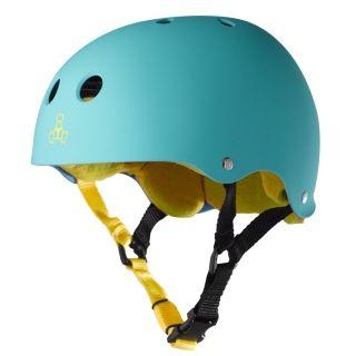 Triple 8 Brainsaver Rubber Longboard Skateboard Helmet Baja Teal
