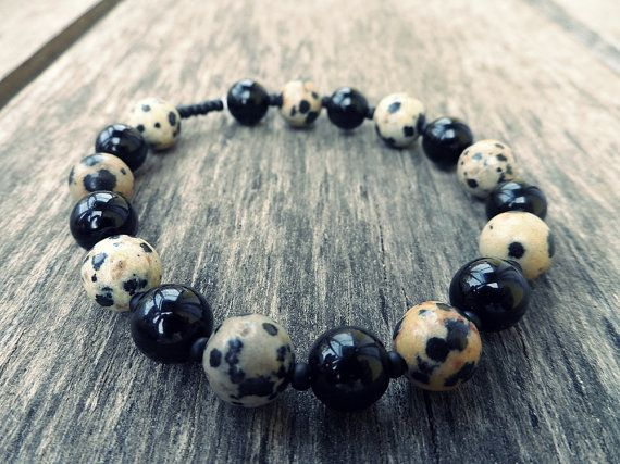 dalmata jaspis black obsidian glass beads by RasikaWorkshop