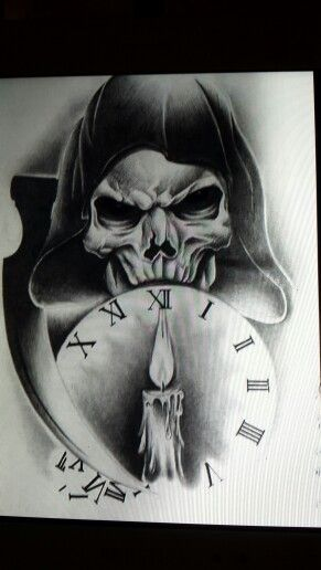 Hooded reaper clock tattoo