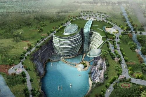 songjiang quarry hotel/Waterworld hotel is located in lagoon in Songjiang, China. It was designed by Atkin's Architecture Group, which won the first prize award of last year's in an international design competition. The 400 bed resort hotel is uniquely constructed within the natural elements of the quarry. Underwater public areas and guest rooms add to the uniqueness, but the resort also boasts cafes, restaurants and sporting facilities. It also includes bungee jumping and rock climbing