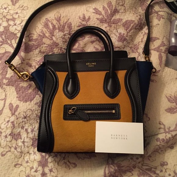 RARE NWT Celine Navy and Gold Horsehair nano bag NEVER BEEN USED rare NWT celine nano navy and gold horsehair bag with black leather and gold accents Celine Bags