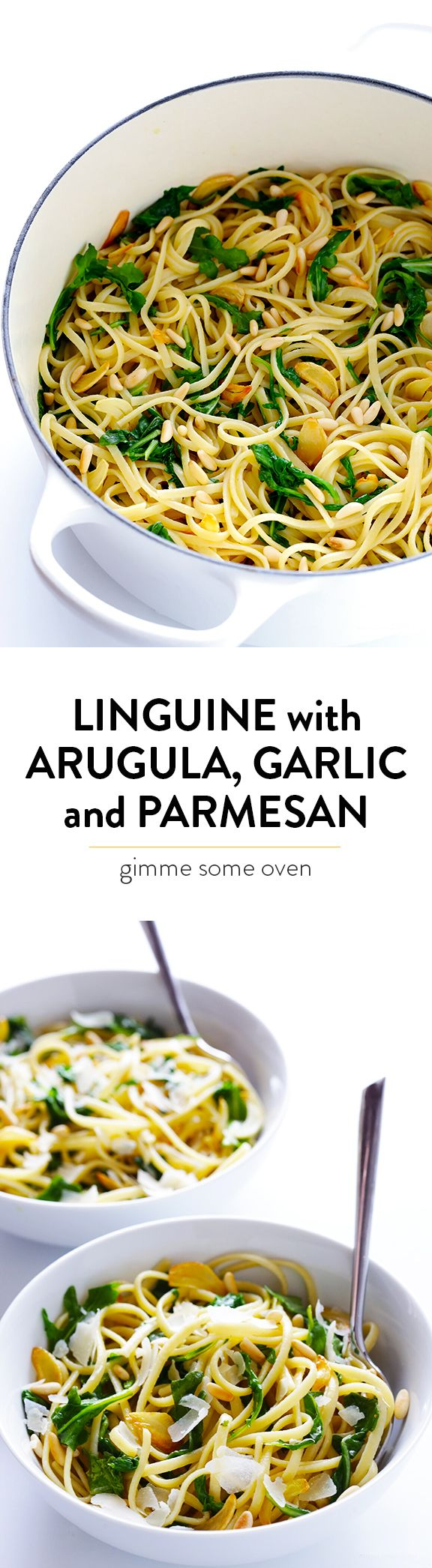 This 5-Ingredient Linguine with Arugula, Garlic and Parmesan recipe is super quick and easy to make, and full of the best flavors! | gimmesomeoven.com
