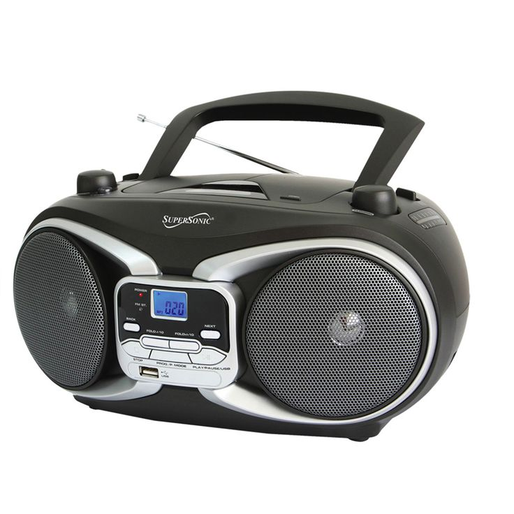 supersonic portable audio system mp3 cd player with usb aux inputs am fm radio cd players. Black Bedroom Furniture Sets. Home Design Ideas