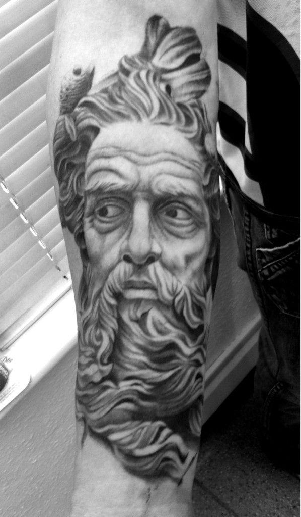 Black n White Greek God Tattoo On Forearm