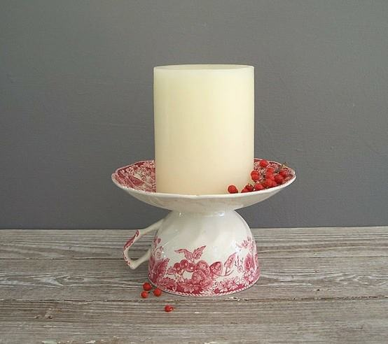 Upside down teacup with saucer-Candle holder...  For Robin  :)